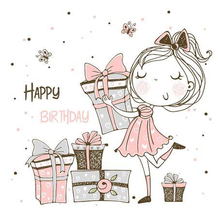 Tarjeta de cumpleaños con una linda princesa y una gran tarta de cumpleaños. Vector.