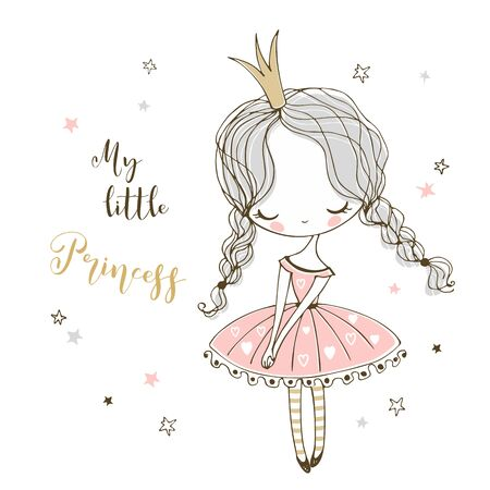 Cute little Princess in Doodle style. Vector