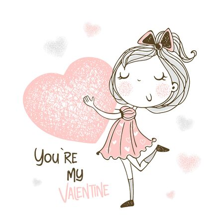 A sweet girl with a big heart in her hands. You're my Valentine. Vector.