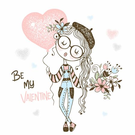 Cute girl with a balloon in the form of a heart and a bouquet of flowers. Valentine. Vector.
