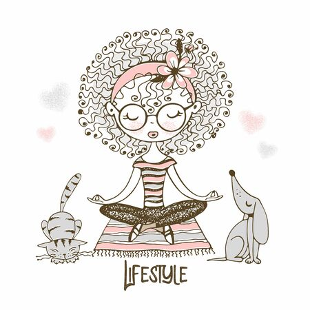 Cute girl with curls sitting in Lotus position, next to cute Pets. Lifestyle. Vector.