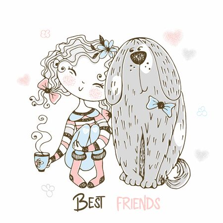 Cute girl sitting with her pet big dog. Best friends. Vector.