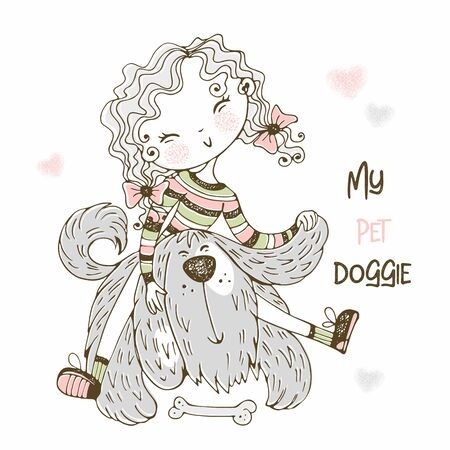 Cute girl playing with her shaggy friend doggie. Vector.