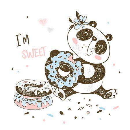 Cute little Panda eats sweet donuts. Vector. Illustration