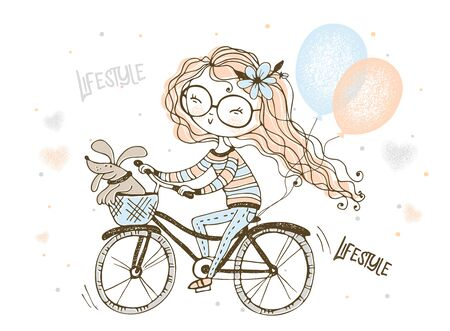 A girl with her pet dog rides a Bicycle with balloons. Vector.