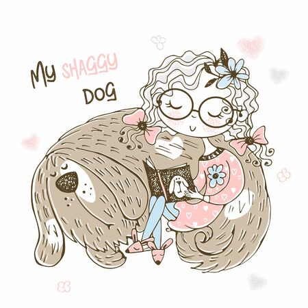 A cute girl is reading a book next to her shaggy dog. Vector. Illustration