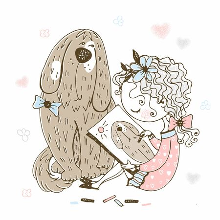 Cute girl draws her pet big dog. Vector.