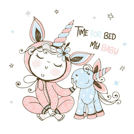 Baby in pajamas with his unicorn toy. It's time to sleep. Vector.