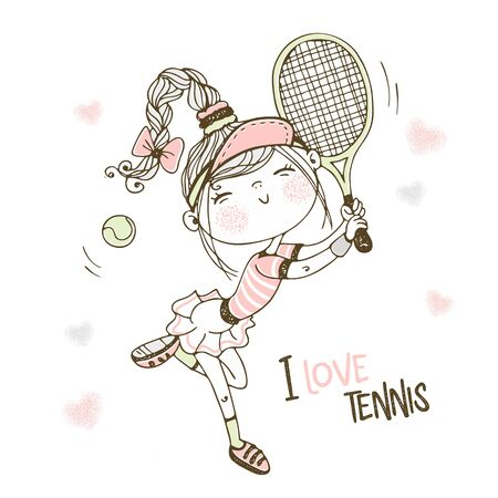 Cute girl playing tennis. Vector.
