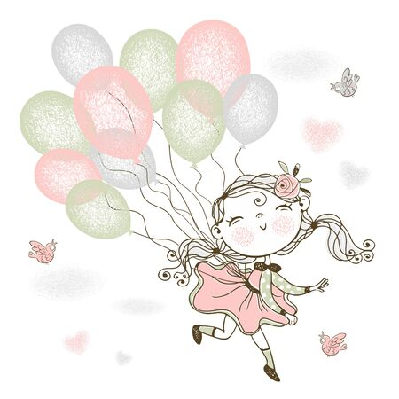A little cute girl is flying on balloons. Vector.