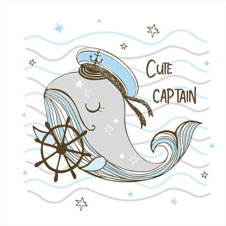 Funny cute whale captain with the wheel. Vector.
