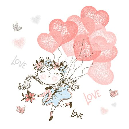 Cute girl flying on balloons in the shape of a heart. Vector.