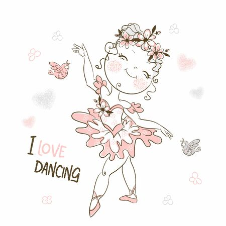 A cute little ballerina in a pink tutu is dancing. Vector.