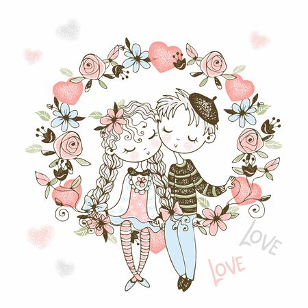 A girl and a boy in love sit in an arch of flowers. Vector.