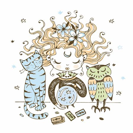 A cute little witch with a cat and an owl looks into a crystal ball. Vector. Illustration