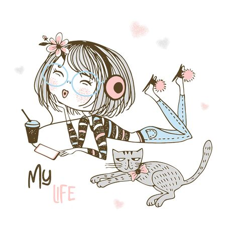 Cute girl in headphones listening to music next to a pet cat. Vector.