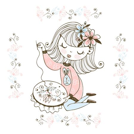 A cute girl is engaged in needlework and embroidery a beautiful pattern on a Hoop. Vector.