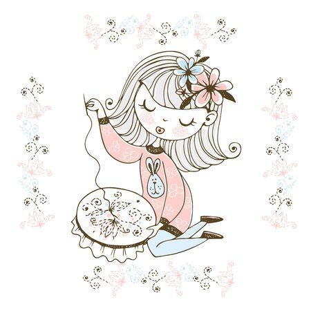 Une jolie fille est engagée dans la couture et la broderie d'un beau motif sur un cerceau. Vecteur.
