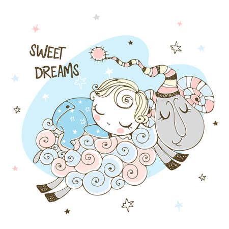 Baby boy is sleeping sweetly on a sheep. Baby shower. Sweet dream.