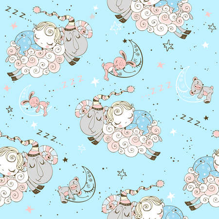 Seamless pattern with flying lambs and babies for boys. Illustration
