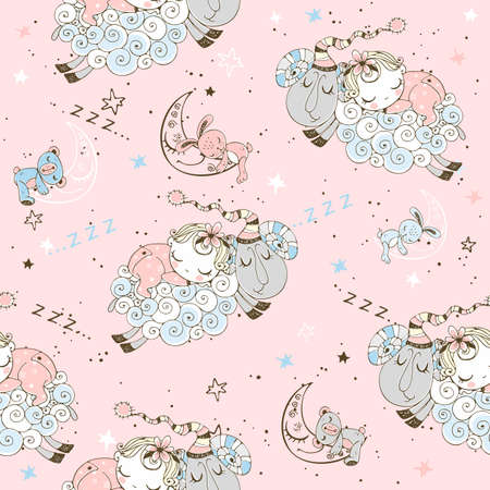 Seamless pattern with flying lambs and babies for girls.