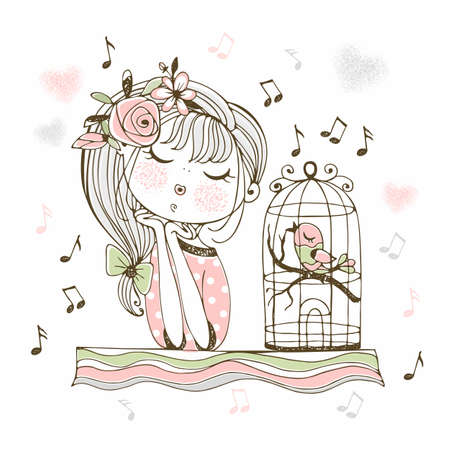 A cute girl listens to her bird singing in a cage.