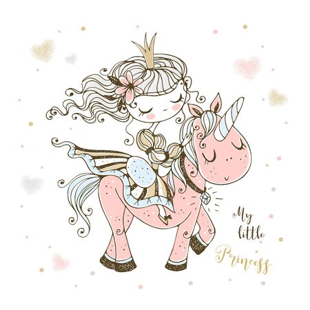 A fabulous cute Princess rides a pink unicorn. Vector.