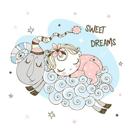 Baby girl sweetly sleeping on a sheep. Baby shower. Sweet dream. Illustration