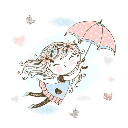 Little cute girl flying on an umbrella. Vector. Иллюстрация