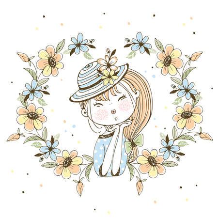 Cute girl in a hat in a frame of flowers .