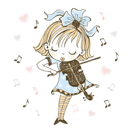 A cute little girl plays the violin. Vector.