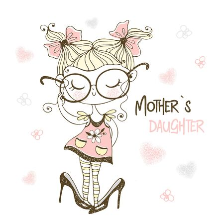 A little cute girl posing in her mother's big shoes. Vector. Mother's daughter.
