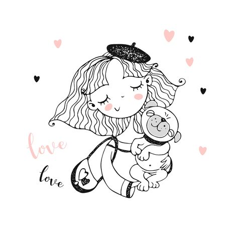 Cute girl in a beret with her pet dog pug. Coloring. Vector.