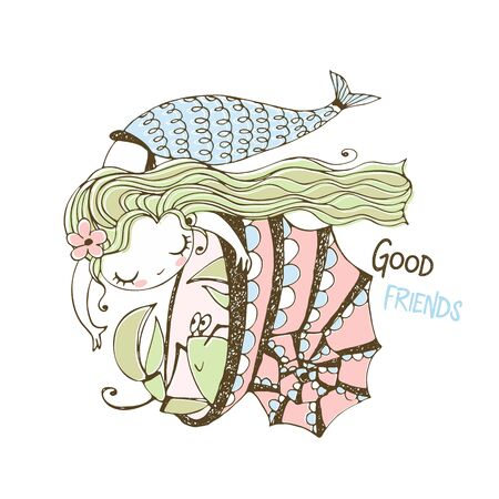 Cute little mermaid playing with cancer sitting in a shell. Vector. Foto de archivo - 142864970