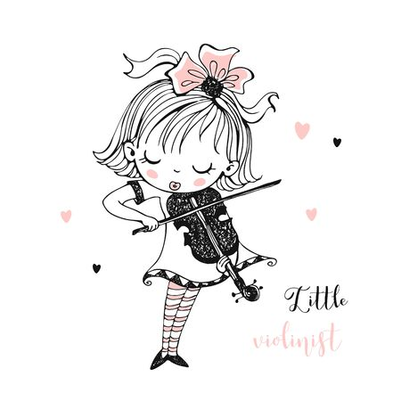 A cute little girl plays the violin. Vector