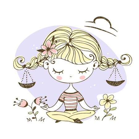 Libra zodiac sign. Cute girl with pigtails in the Lotus position. Vector.