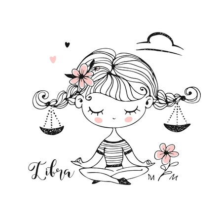 Libra zodiac sign. Cute girl with pigtails in the Lotus position. Vector. Black-white.