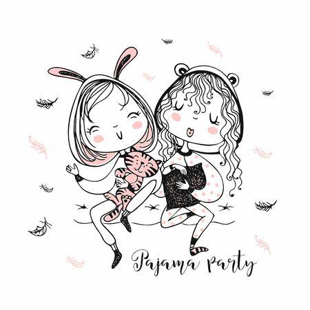 Cute girls in pajamas have fun at a pajama party. Vector Illustration