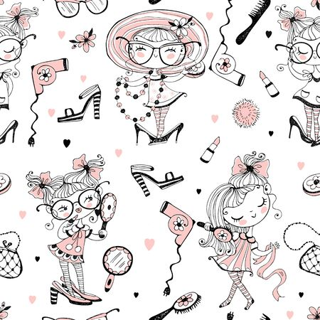 Trendy little cute girls who want to look like adults. Fashionistas with women's accessories. Seamless pattern. 向量圖像