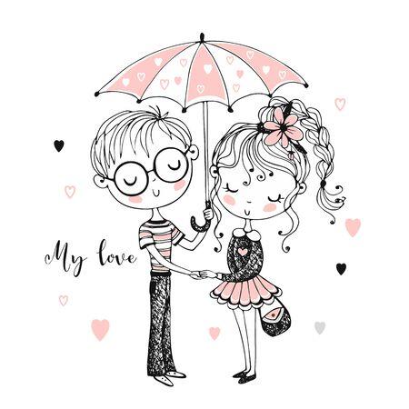 Cute boy and girl under umbrella. Rendezvous. Vector Illustration