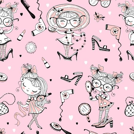 Trendy little cute girls who want to look like adults. Fashionistas with women's accessories. Seamless pattern. Ilustração