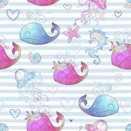 Seamless pattern with cute sea animals on striped background. Vector.
