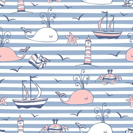 Seamless pattern on a marine theme striped background blue. Vector.