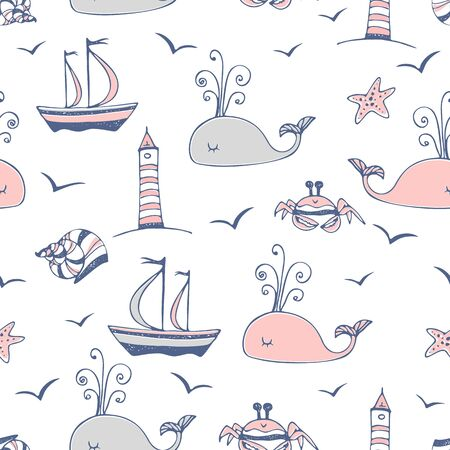 Seamless pattern on a marine theme with ships and whales. Vector. Иллюстрация