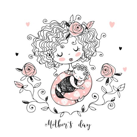 The mother with the baby. Mother's day card. Vector.