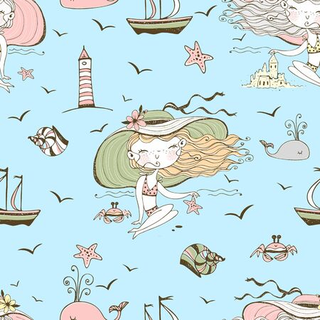 Seamless pattern on the theme of summer and the sea with cute girls on the beach. Vector. Vectores