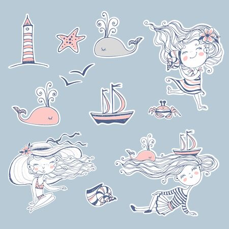 Stickers on the theme of summer and the sea. Vector.