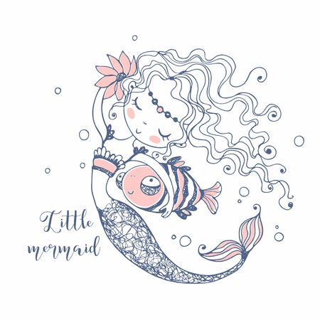 Cute little Mermaid with a fish . Doodle style. Vector  イラスト・ベクター素材