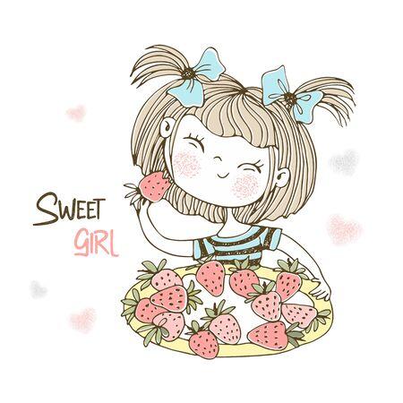 Cute little girl eating strawberries. Vector.
