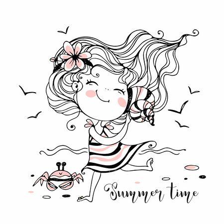 Cute little girl on the beach listening to a seashell. Vector. Ilustração